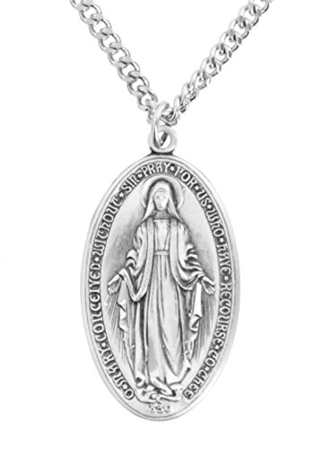 (Men's Deluxe Sterling Silver Oval Miraculous Medal + 24 Inch Endless Rhodium Plated)