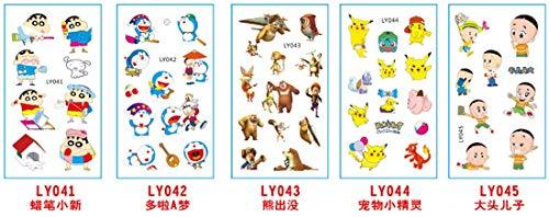 5 Sheets Cartoon Kids Temporary Tattoos Body Sticker - for Boys Girls Teens - Waterproof Colorful Tattoos | Pokemon | Removable, NONTOXIC (41-45) -