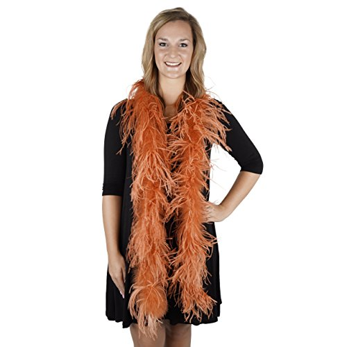 ZUCKER 6' Flapper Ostrich Boa - Cinnamon Feather Halloween Cosplay Costume Accessory -