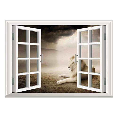 SCOCICI Wall Mural, Window Frame Mural/Safari Decor,White Lion Setting at Sunset Dramatic Sky Foggy Clouds Desert Sunbeams Wilderness Pose Rare,/Wall Sticker Mural