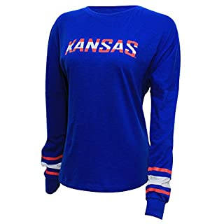 NCAA Kansas Jayhawks Women's Campus Specialties Long Sleeve Fan Tee, Small, Royal