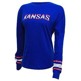 NCAA Kansas Jayhawks Women's Campus Specialties Long Sleeve Fan Tee, Large, Royal
