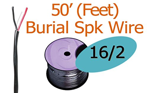 Black 16 AWG 2 Conductor FT4 Oxygen Free Direct Burial Rated Speaker Wire (50ft)