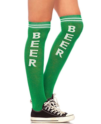 Leg Avenue Women's Beer Time Acrylic Athletic Socks - Green/White - One Size