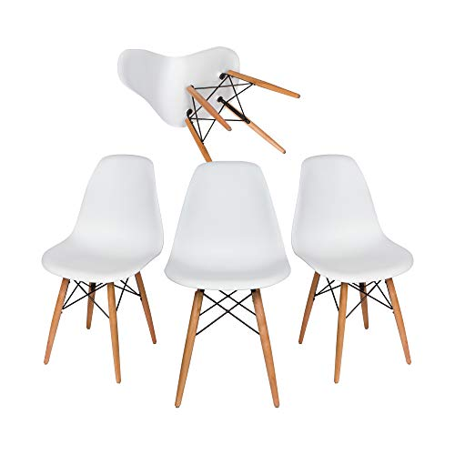 Liani | Mid Century Modern Chair (White) - Designer MONOFRAME Modern Dining Chairs Set of 4 for Living Room Accent Chair, Side Chair, Dining Table and Kitchen Chairs - Midcentury -