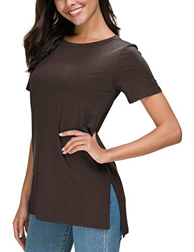 Herou Women's Casual Round Neck Short Sleeve Loose T-Shirt Tops (Coffee, ()