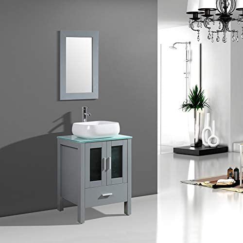 DodreHome 24″ Modern Gray Bathroom Vanity MDF Cabinet