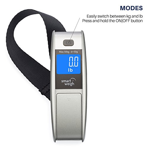 Smart Weigh Travel Digital Luggage Scale with EZ Grip Handle, Portable Hanging Strap and Hook Scale, Bag Weight Gadget w/ Tare Function for Suitcases, Batteries Included, 50kg / 110lbs, Silver