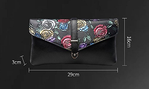 Leather Shoulder Evening Silver Original Bag package Layer Embossed Rose Female Red Color Bag Hand of Dinner Guofeng Clutch First Bag Rose 6wYAqf6