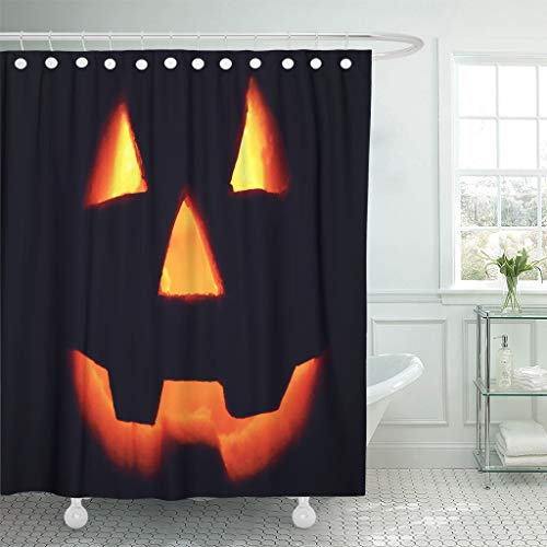 Ladble Waterproof Shower Curtain Curtains Orange Autumn Jack O Lantern Silhouette on Glowing Pumpkin in Dark Halloween Red Carved 72