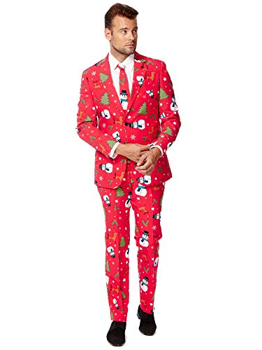 OppoSuits Men's Christmaster Party Costume Suit, Red/White/Green, 40]()