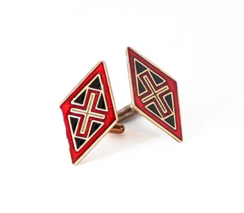 Brass diamond shaped byzantine style cufflinks with red and black inlay, (Shaped Cufflinks)