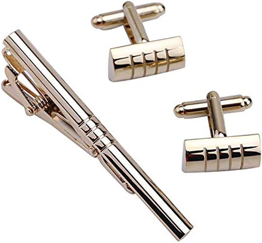 1 Sets Traje de los Hombres Camisa de Vestir de Acero Inoxidable Stee Tie Bar Broche Clip Pin Gemelos Set Regalo: Amazon.es: Joyería