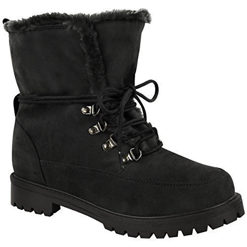Fur Army Up Shoes Faux Sole Grip Black Lace New Size Thirsty Winter Suede Ankle Ladies Boots Womens Faux Fashion zgWXOpnq