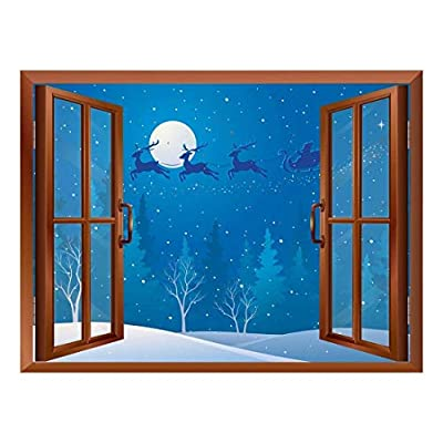 Delightful Portrait, Cartoon Santa Claus and Reindeers Flying Over The Trees Peel and Stick Removable Window View Wall Sticker Wall Mural, Created Just For You