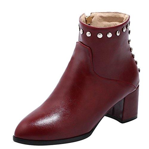 Charme Voet Dames Mode Rits Puntig Dikke Hoge Hak Korte Laarzen Rood