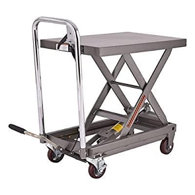 Goplus Scissor Lift Cart Table Dolly Cart Hydraulic Scissor Jack w/ 500LB Capacity, Grey