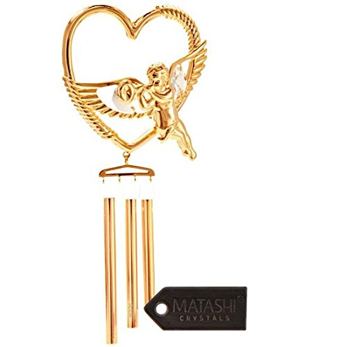 Gold Plated Cherub (24K Gold Plated Cherub in Heart Wreath Wind Chime Made with Genuine Matashi Crystals)