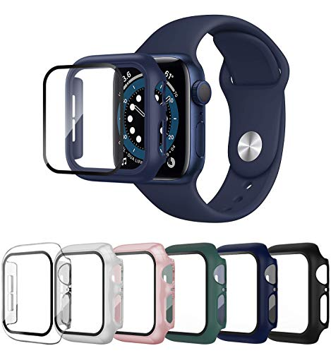SLYEN 6 Pack Case with Screen Protector for Apple Watch 38mm 40mm 42mm 44mm, Full Coverage Bumper with HD Ultra-Thin Cover for iWatch Series SE/6/5/4/3/2