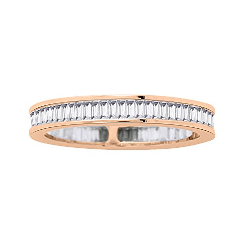 KATARINA Baguette Cut Diamond Eternity Band in 14K Rose Gold (5/8 cttw) (G-H, VS2-SI1) ()