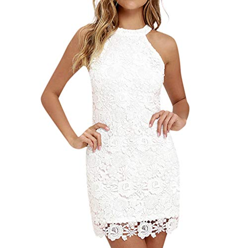 Londony ❤↪❤ Night Out Dresses for Women's Off The Shoulder Sleeveless Tie Neck Lace Halter Dress White