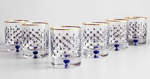 Imperial Porcelain Cobalt Net Whiskey Glass Set of 6 by Imperial Porcelain Factory