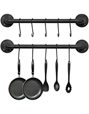 OROPY Wall Mounted Pot Pan Rack 21'' Set of 2, Industrial Utensils Wall Hanger Iron Pipe Kitchen Hanging Rail with 10 S Hooks
