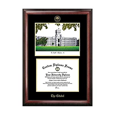 Campus Images The Citadel Gold Embossed Diploma Frame with Campus Images Lithograph