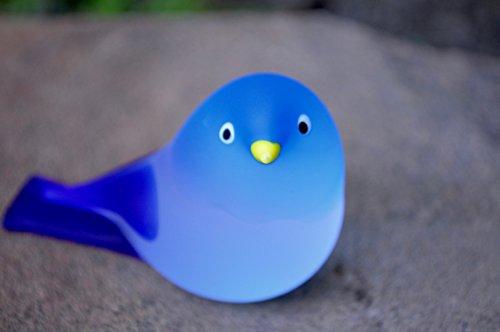 Murano Glass Chickadee Bird, Large, Turquoise & Cobalt