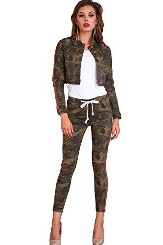 American Bazi Women's PU and Denim Jacket and Jogger