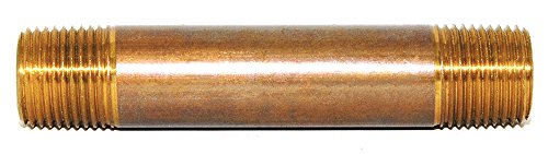Trenton Pipe 11303X0020RR Red Brass Pipe Nipple, Seamless, Schedule 80, M-NPT Threaded Both Ends, Extra Heavy, 3/8
