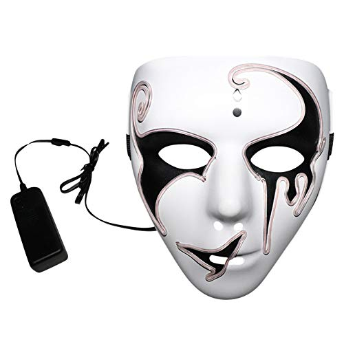 WOCACHI Clearacne Sale! Promotion! Halloween Masks LED Scary Grimace Skull Cold Light Sound Control Mask