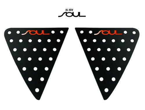 exLED Window Glass Lettering Sports Plate Panel C Pillar Ver.2 (Black & Red Logo) 2-pc Set For 2013 2014 Kia All New Soul