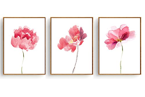 - Hepix Canvas Wall Art, Abstract Watercolor Pink Flowers Canvas Print for Home Decor with 3 Panels, 13x17inch (Framed)