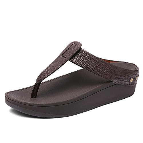 Estate Antiscivolo Pantofola Confortevole Brown 39 Infradito Pelle Black Traspirante Lucida In Rivetto Ciabatte rgx8Bwq4r