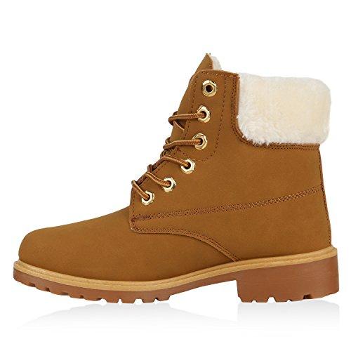 Stiefelparadies Warm Gefütterte Damen Stiefeletten Worker Boots Kunstfell Flandell Hellbraun