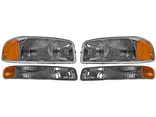 Gmc Sierra Pickup 1500 2500 3500 Hd 99-06 Yukon Xl 00-06 Head & Corner Light Set 01 Gmc 3500 Pickup Truck
