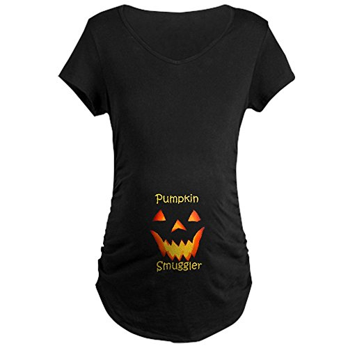 CafePress Pumpkin Smuggler Halloween Shirt Maternity T Shirt Cotton Maternity T-Shirt, Side Ruched Scoop Neck -