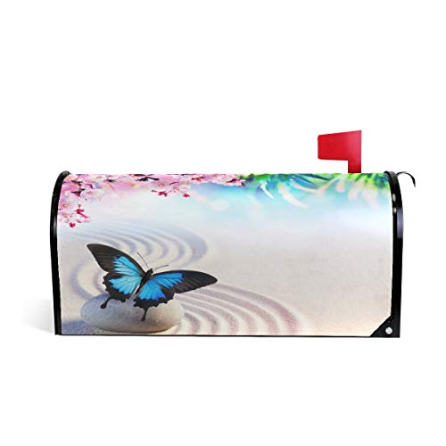 - WOOR Japanese Butterfly Zen and Sakura Blossoms Magnetic Mailbox Cover MailWraps Garden Yard Home Decor for Outside Standard Size-18