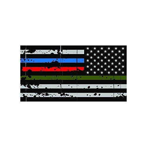 KW Vinyl Reverse Thin Blue Line Police Firefighter Military Tattered Flag Sticker Decal Self Adhesive Made in USA