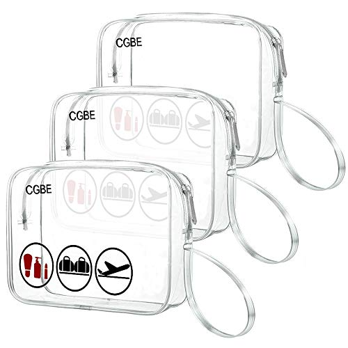 CGBE TSA Approved Toiletry Bag With Handle Quart Size Travel Bags For Toiletries Carry On Cosmetic Makeup Pouch 3PCS (Clear)