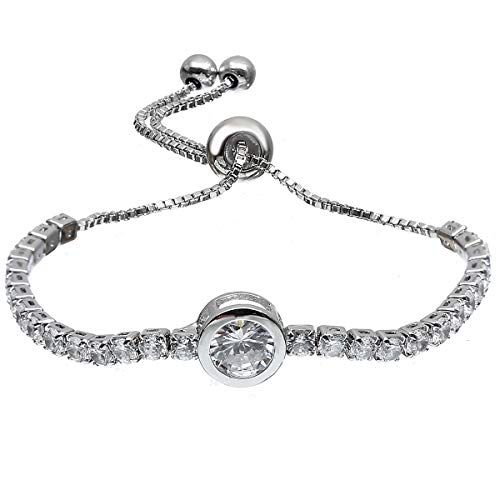 ASHMITA Charm Round Bracelets for Women Girls Cubic Zirconia Silver Adjustable Chain Bracelet