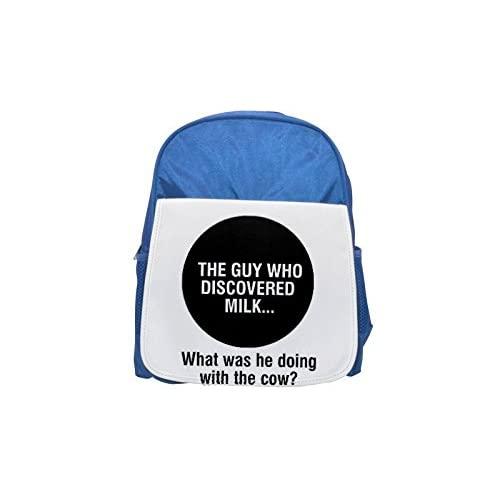 The Guy Who Discovered Milk.. WHAT Was He doing with the Cow? Printed Kid 's blue Backpack, cute Backpacks, cute small Backpacks, cute Black Backpack, Cool Black Backpack, Fashion Backpacks, Large Fashi
