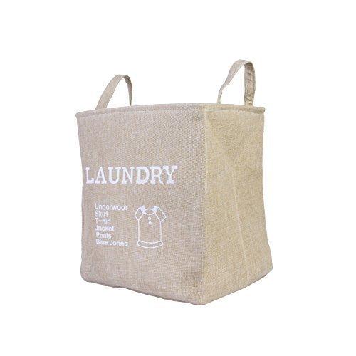 Foldable Home Shelf Baskets Cloth Organizer Storage Burlap Fabric Bin with Handle (Cream)