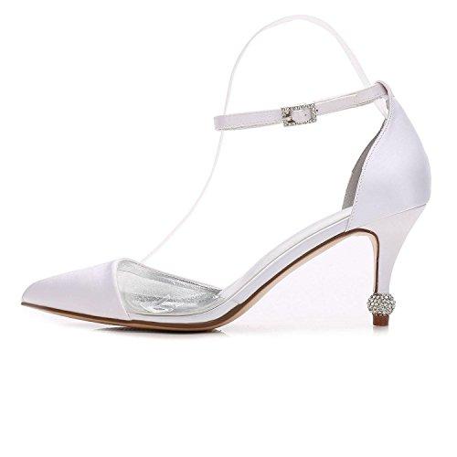 Silver Satin Mariage L Violet De Pompe Eté Fête Chaussures F17767 Soirée Femmes yc Et Printemps 20 Argent wqRr8Hatq
