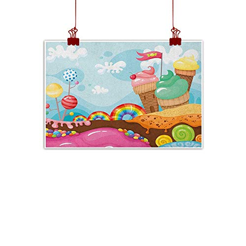 Sunset glow Wall Painting Prints Ice Cream,Dessert Land with Rainbow Candies Lollipop Trees and Cupcake Mountains Cartoon, Multicolor 28