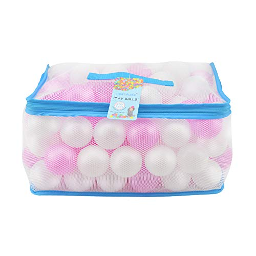 Lightaling 100pcs White & Pink Ocean Balls & Pit Balls Soft Plastic Phthalate & BPA Free Crush Proof - Reusable and Durable Storage Mesh Bag with - Pit Of Play Bag Plastic