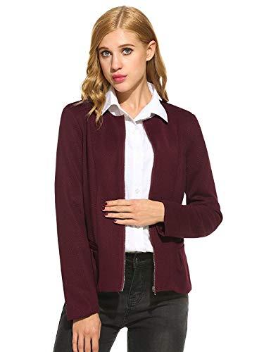 Modern Donna Tasche Rotondo Cerniera Manica Autunno Outwear Giacca Da Stile Colore Con Coat Anteriori Calda Rot Puro Lunga Tailleur Collo Blazer TwTprqzS