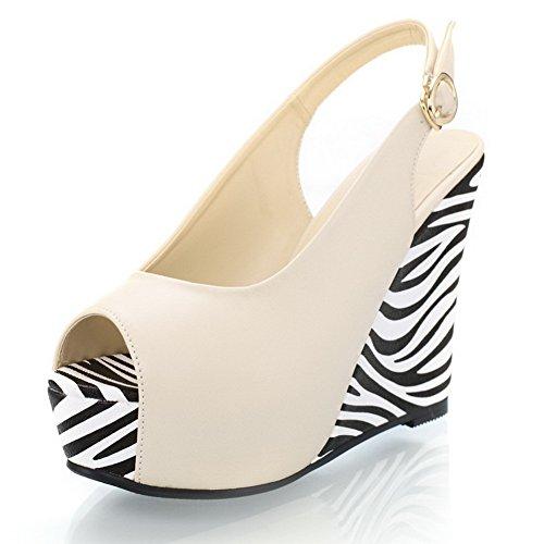 VogueZone009 Womens Open Peep Toe High Heel Wedge Platform PU Soft Material Solid Sandals Beige 8UFDICA