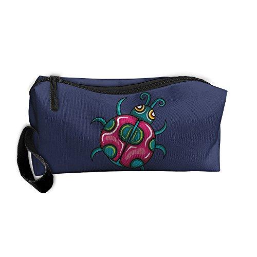 Cute Ladybug Storage Tools Canvas Zipper Multi-function Organization Bag With Handle -
